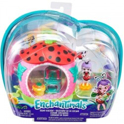Set de joaca Mattel Enchantimals Petal Park Teeny Kitchen cu mini figurina Ladelia Ladybug
