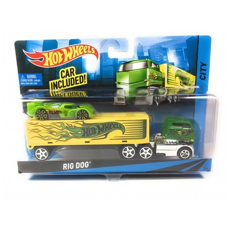 Camion Transportor + Mașinuță Hot Wheels City - Rig Dog