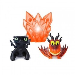 Mini Set 2 figurine Spin Master Dreamworks Dragons Toothless si Hookfang cu lumina